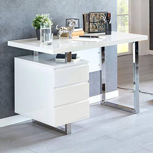 Escritorio de diseño PATT 115 x 60 x 76 cm, color blanco brillante, mesa para ordenador de 115 cm de ancho, con patas de metal, consola para el hogar y la oficina
