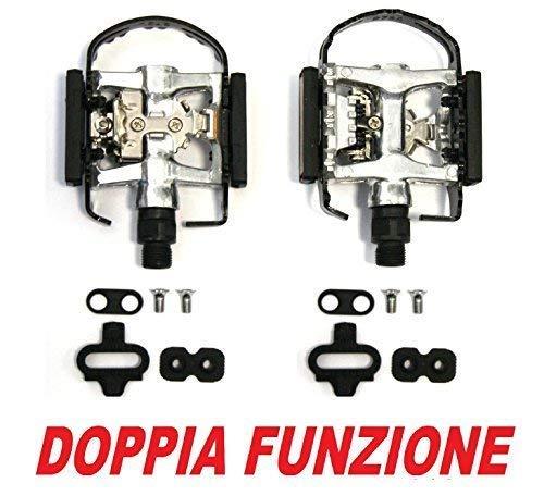 CSM Pedali Mountain Bike MTB Doppia Funzione - Attacco SPD Shimano + Standard Piatto - TACCHETTE COMPRESE