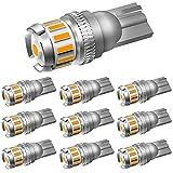 OXILAM T10 LED アンバー サイドウインカー 高輝度 爆光 CANBUSキャンセラー内蔵 イエロー ルームランプ ポジションランプ カーテシーランプ トランクランプ 無極性 DC9-18V 車用 車検対応 1年保証 10個入