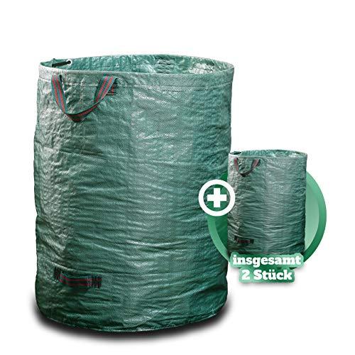 GARSA Gartenabfallsack 2 x 300 Liter - Premium Gartensack mit Verstärkten Griffen und Doppeltem Boden - Laubsack Selbstaufstellend und Faltbar