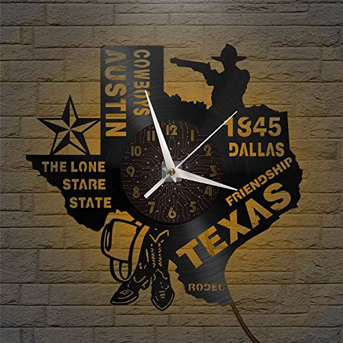 SZG 1845 Dallas Friendship Texas Reloj de Pared de Vinilo Reloj con Disco de Vinilo Arte de Pared Negro 12'para Sala de Estar Dormitorio(C) con LED