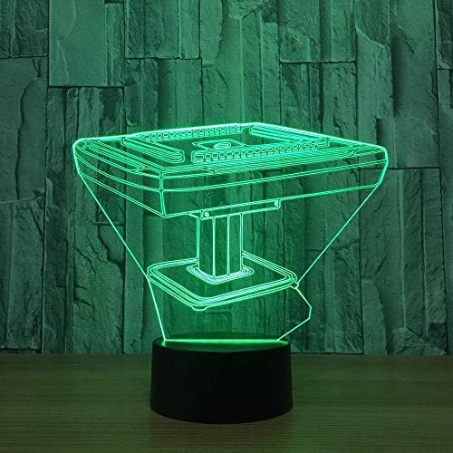 3D Lámpara de LED Lámpara de Escritorio Mahjong game lámpara de escritorio creativa para cumpleaños Con carga USB, control táctil de cambio de color colorido