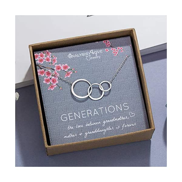 3 Generations Necklace – Sterling Silver Interlocking Infinity 3 Circles Necklace for Grandma Mom Granddaughter, Birthday Jewelry Mothers Day Gift