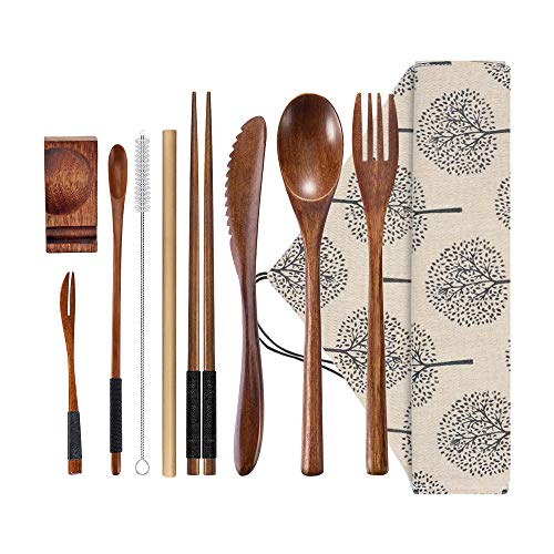 Wooden Utensils Flatware Silverware Set Bamboo Utensils Travel Cutlery Set for Eating with Case, 10 Pcs Reusable Flatware Set Includes Wooden Knife, Fork, Spoon, Chopsticks, Straws and Brush