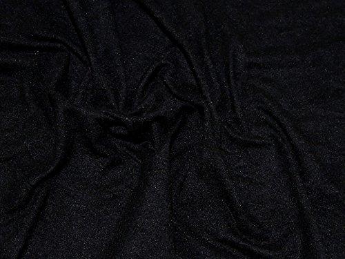 Kleiderstoff, Velourslederimitat, Stretch, Jersey, Meterware, Schwarz