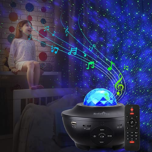 Projetor Galaxy Star, projetor de luz estrelada para quarto com 21 modos de iluminação com controle remoto e música integrada, projetor de estrelas, ondas do oceano/nuvem de nebulosa de LED, presente para crianças e adultos