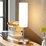Lámpara de mesa 'Vinsta' (Moderno) en Blanco hecho de Vidrio e.o. para Dormitorio (1 llama, E27, A++) de Lindby | repisa, lámpara para repisa, bombilla y lámpara de ventana