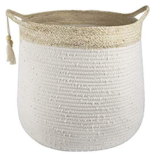 Cesta de Cuerda de algodón Tejida Ropa Plegable Cesta de Almacenamiento Juguetes para niños y Sundries Cesta de Almacenamiento