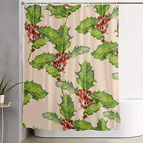 Shower curtain,pattern with holly tree design for tablecloth paper napkins teatowels and wrapping paper p,bathroom curtain washable bathroom curtain polyester fabric with 12 plastic hooks 180x210cm