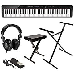 KIT INCLUDES: Casio Privia PX-S3000 88-Key Digital Piano | Casio Sustain Pedal (SP-3) | Sheet Music Stand | AC Adapter | Cushion Bench | Sturdy Lightweight Adjustable Stand | Full-sized Sustain Pedal | H&A Studio Monitor Headphones KEY FEATURES: Pian...
