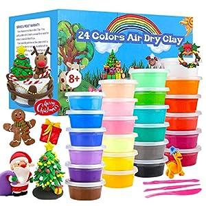 QMAY 24 Colores Air Dry Clay, Arcilla de Modelado Ultraligero, Magic Clay Artist Studio Toy, Arcilla y Masa de Modelado no tóxico, Arte Creativo DIY Crafts, Regalo para niños