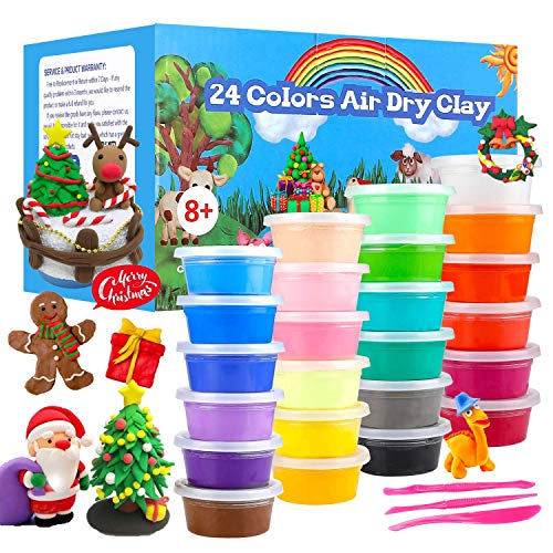 QMAY 24 Colores Air Dry Clay, Arcilla de Modelado Ultraligero, Magic Clay Artist Studio Toy, Arcilla y Masa de Modelado no tóxico, Arte Creativo DIY Crafts, Regalo para niños