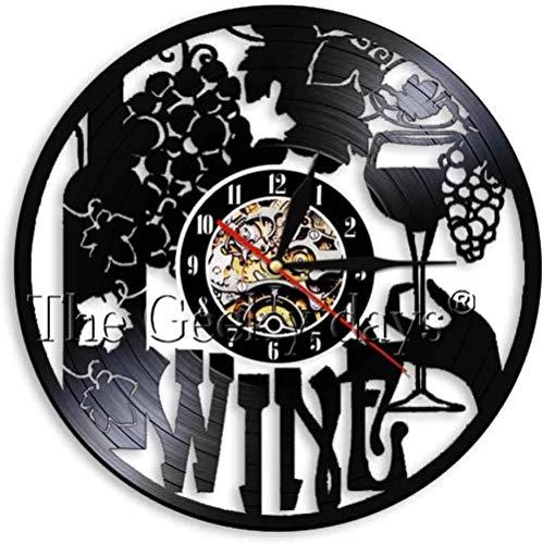 Reloj de Pared de Vinilo Vintage Vintage Hecho a Mano Taza de UVA Bebida Arte de Pared Vino Fiesta Bar Sala Art Deco Reloj