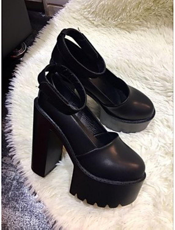 LvYuan-ggx Damen High Heels Komfort PU Frühling Normal Komfort Wei Schwarz 7,5 - 9,5 cm