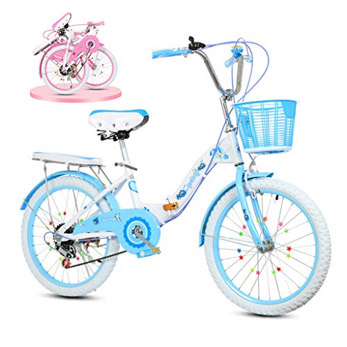 Children's bicycle Bicicletta da Bicicletta Pieghevole da 20 Pollici per Bambini, Auto da 18 Pollici per Auto da Principessa Regolabile, Adatta per Ragazze di 8-16 Anni (Colore: Rosa, Azzurro)