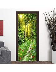 3D Pegatinas de Puerta Mural de Puerta Naturaleza verde Adhesivos para Puertas 77X200 cm Póster Autoadhesivo Puerta Impermeable Vinilos PVC Hogar Pegatina Paredes Decoración