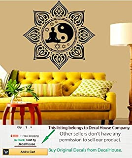Boho Wall Decals Lotus Vinyl Sticker Sport Girl Relax Sun Flower Yoga Studio Gym Home Interior Yin Yang Sign Indian Mandala Decal Home Wall Art Murals Boho Bedroom Living Room Decor KT39