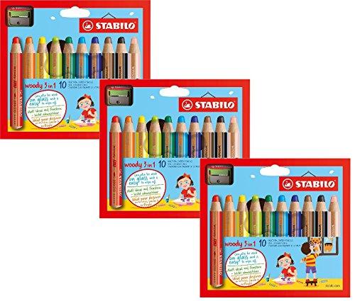 3er Sparpack | 3 Sets Stabilo Buntstift, Wasserfarbe und Wachsmalkreide woody (3 in 1, mit Spitzer 10 verschiedene Farben) 10er Pack (10er Etui mit Spitzer | 3 Etuis)