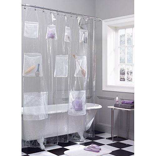 Maytex Quick Dry Mesh Pockets Waterproof PEVA Shower Curtain or Liner, Bath / Shower Organizer, Clear, 70 inches x 72 inches