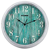 HYLANDA Teal Wall Clock, 12 Inch Retro Vintage Silent Wall Clocks Battery Operated Non Ticking Decorative for Kitchen Home Living Room Office Bathroom(Grey)