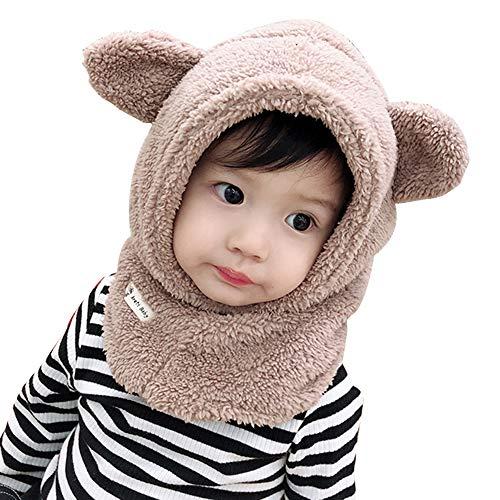Homeatk Grueso cálido niño Invierno Sombrero pasamontañas bebé Bufanda niña Chico Orejeras Gorra otoño Invierno Manta Cuello Orejas Capucha esquí Gorra máscara Facial,Gray,S