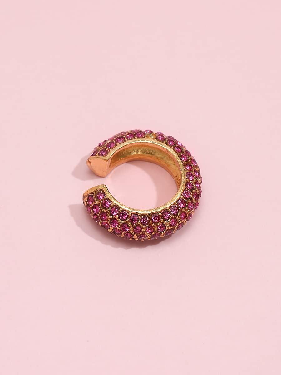 ANBF Hoop Earrings Rhinestone Decor Ear Cuff (Color : Red Violet)
