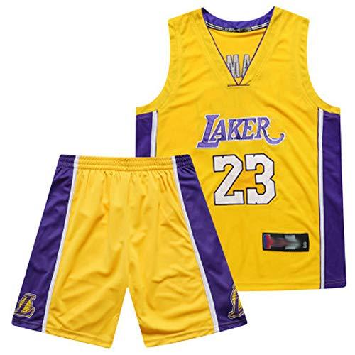 Voll Besticktes Basketball-Trikot-Trikot-Set Nr. 23 Lakers Jen 0 James Klassische Retro-Version, Nicht leicht zu verformen und zu verblassen, Keine Luftballons, Anti-Falten-Blue-M