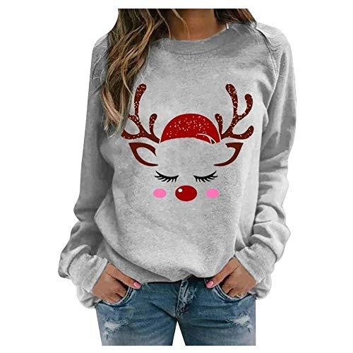 Dujie Damen Pullover Frauen Casual Weihnachten Druck Kariert Raglan Langarm Shirts...