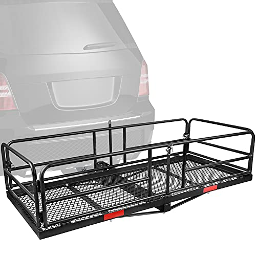 XCAR Hitch Mount High Side Cargo Carrier Rack 360 Lbs Folding Luggage Basket 59' x 24' x 14' for Car...