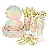80 pezzi set di stoviglie usa e getta tovagliolo di carta tazza di paglia forniture per feste arcobaleno decorazione festa di compleanno