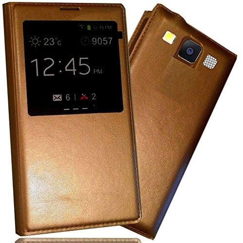 Funda protectora con tapa para Samsung Galaxy A3 dual sim, con S-View, color dorado