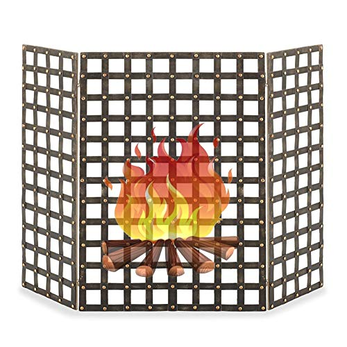 ZJM Fireplace Spark Protection Fretwork Fire Screen with 3-Panel, Vintage Fireplace Screen for Freestanding Stove, Easy to Fold up and Put Away, 85cm Tall