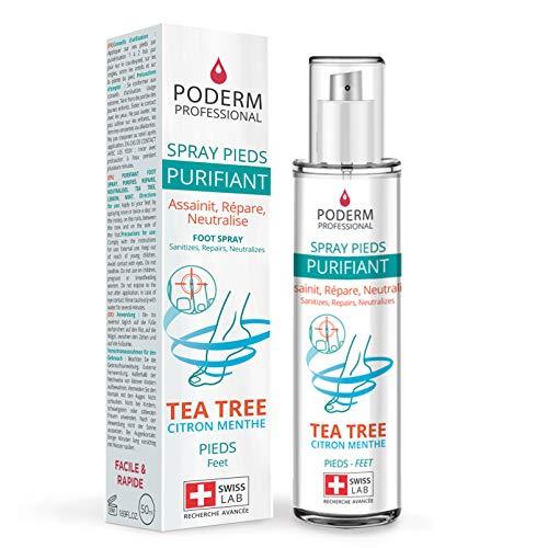 PODERM - TRATAMIENTO HONGOS PIE DE ATLETA - Spray Purificante - Elimina 99,9% de hongos – Anti Olor y Anti Transpiración Pie - Hecho en Suiza