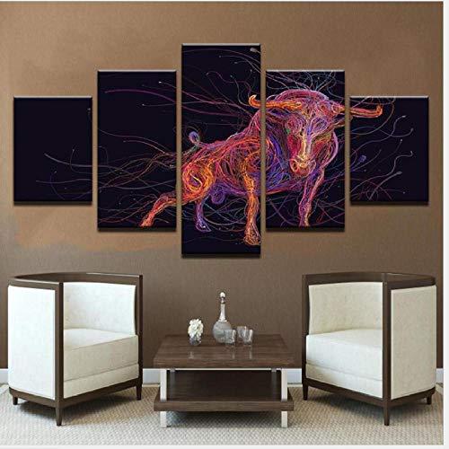 AMDPH Cuadro En Lienzo 5Pcs Imagen Línea De Color Toro Creativo Pintura Decorativa Moderna para Colgar En La Pared Decoración para El Hogar Dormitorio Infantil Regalo De Arte Mural