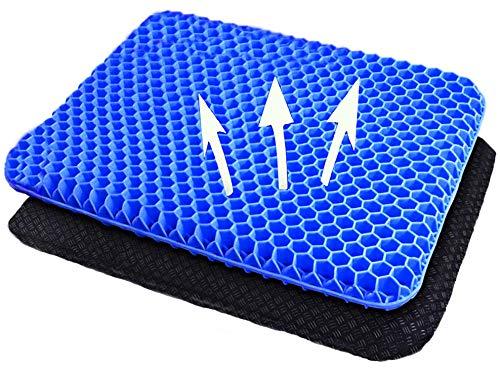 boyue Almohadilla de Gel más Gruesa, cojín de Soporte Lumbar Transpirable, con Funda Antideslizante, para automóvil/Oficina/hogar/Silla de Ruedas (Azul)
