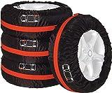 Supremery Auto Reifen Reifentaschen Set - für 13-17 Zoll große Autoreifen - mit Reifenposition Aufdruck und Griff - 4X Autorädertaschen Reifentaschen in Schwarz Rot