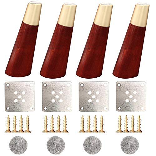 4 piezas Roble Patas de muebles Con manga de cobre Patas de madera maciza Patas de soporte para muebles Patas de repuesto-por Sofá Gabinete de TV Mesa de café Cama-Metal Moderno (4/5/6/10 pulgadas)