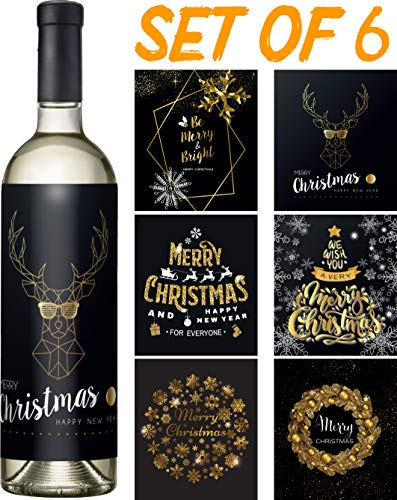 Christmas Wine Stickers Set of 6 - Black and Gold Wine Labels - Funny Christmas Wine Bottle Cover and Custom Christmas Labels (BlackGold2)