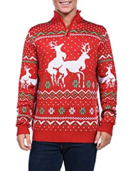 Tipsy Elves Men s Christmas Climax Sweater - Funny Humping Reindeer Ugly Christmas Sweater  Red Large