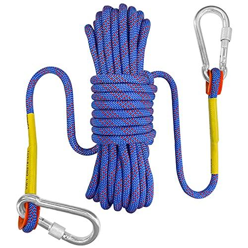 Bolatus 9mm Sicherheitsseil 20 Meters, Nylon im Freien Rettungsseil Hochfestes Seil mit Karabiner Sicherheitsseil für Anwendungen Notüberleben, Feuerrettung Tragegewicht 1500 KG