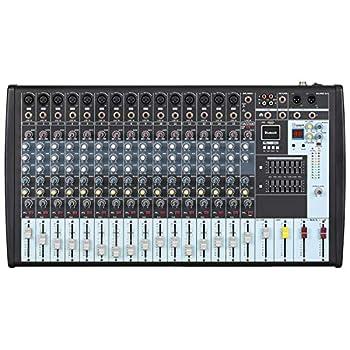 Boytone BT-160MX,16 Channel Bluetooth Power Studio Audio Mixer - DJ Sound Controller USB MP3 Player PC Recording 15 XLR Microphone Port,14 Band EQ Tape CD Jack 16BIT Digital Effect Metal Case