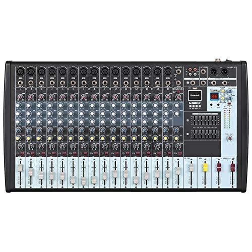Boytone BT-160MX,16 Channel Bluetooth Power Studio Audio Mixer - DJ Sound Controller, USB MP3 Player, PC Recording, 15 XLR Microphone Port,14 Band EQ, Tape, CD Jack, 16BIT Digital Effect, Metal Case