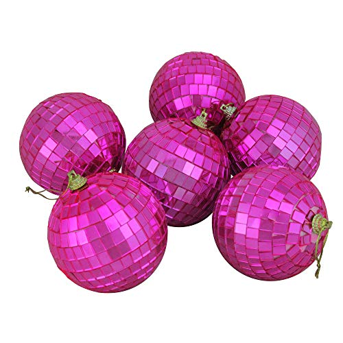 Pink Mirrored Glass Disco Ball Christmas Ornaments