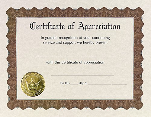 Great Papers! Certificate of Appreciation, Pre-Printed, Gold Foil, Embossed, 8.5' x 11', 6 Count (930000)