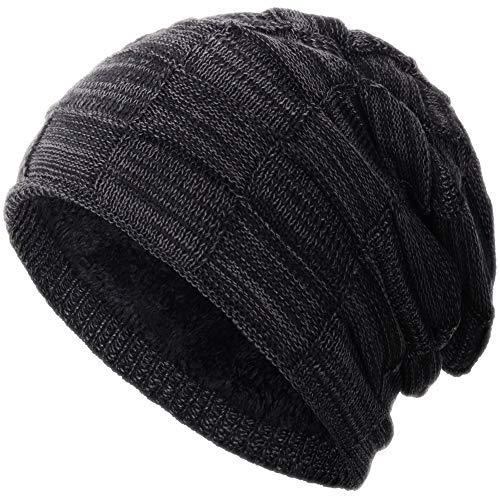 Compagno warm gefütterte Beanie Wintermütze Flechtmuster unifarben oder meliert Einheitsgröße Mütze, Farbe:Schwarz meliert