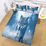 3D Duvet Cover Set (Twin) Snow Wolf Bedding Set with Zipper Closure for Kids Children Double Duvet Cover Set 175X218Cm