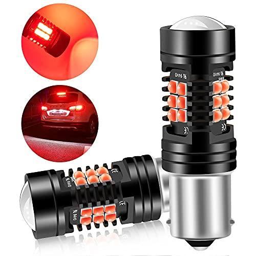 Sidaqi 2X 1156 BA15S P21W bombilla LED luz de freno del coche luz de estacionamiento luz trasera luz antiniebla trasera 21SMD 3030 chip diseño de doble lente luz LED impermeable 12V-rojo