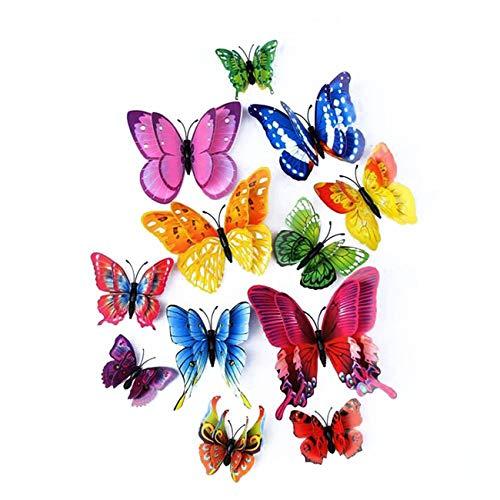Farfalla artificiale a doppia ali 3D, decorazione di nozze/festa/casa, farfalla di simulazione artigianale, adesivo da parete farfalla misto 6 colori, 12 pezzi (Colore misto)