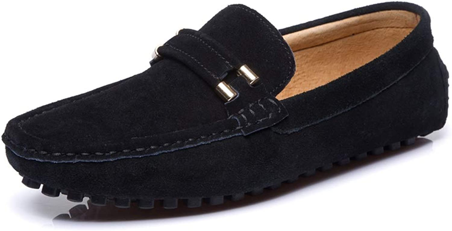XIANGBAO-Personality Men's Loafers Slip on Drive Moccasin Suede Leather Fashion Buckle Slippers Penny Boat shoes