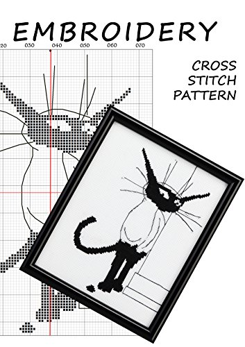 Cross stitch simple pattern embroidery black and white cat silhouette Modern cross stitch white cat black cat ornament Designer cross stitch cat woman black and white statue Cat silhouette decal